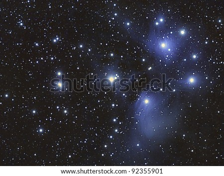 A Stars cluster and nebula, taken with apochromatic telescope - stock photo