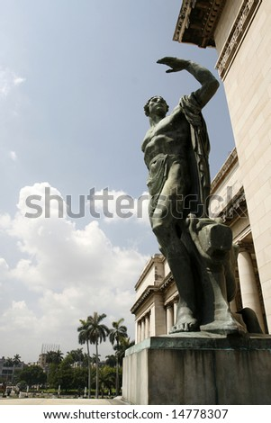 a statue at house of Representatives at Havana the capital of  Cuba