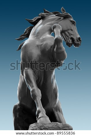 A statue of a horse near the museum d'Orsay, Paris - stock photo