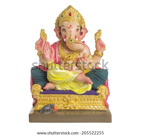 A statue of an Indian god, Lord Ganesha on white background. - stock photo