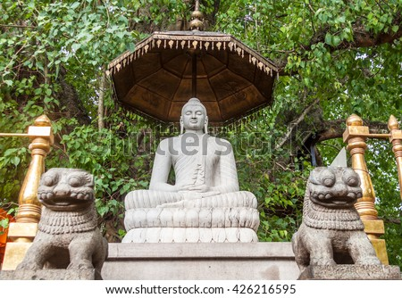 A statue of Buddha at the Buddhist Kelaniya temple in Sri Lanka. - stock photo