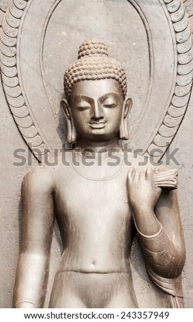 A statue of buddha in Nepal. - stock photo