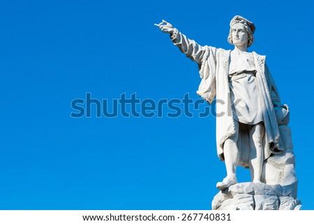 A statue of Cristopher Columbus on the promenade of Santa Margherita Ligure - stock photo