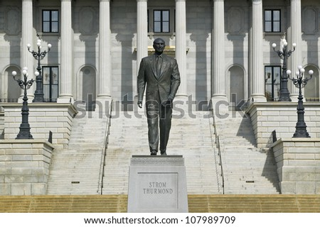 A statue of former U.S. Senator Strom Thurmond stands in front of the South Carolina statehouse in Columbia, South Carolina.