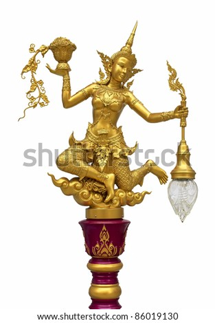 A statue of golden fairy hands the lamp on a white background.