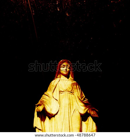 A Statue of Mother Mary grunge