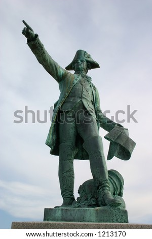 A statue of rochambeau in Kings Park, Rhode Island.