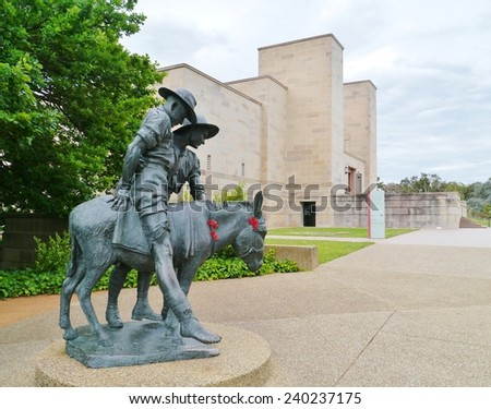 A statue of Simpson and his donkey field ambulance in Canberra in Australia - stock photo