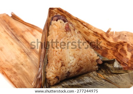 A steamed rice dumpling  isolated on white  background      - stock photo