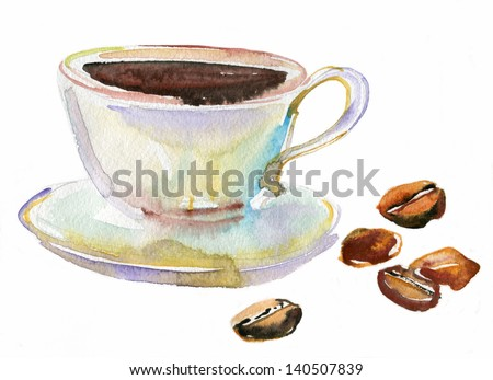 A steaming cup of coffee and coffee beans. watercolor - stock photo