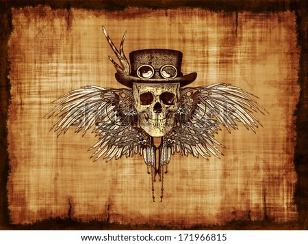 A steampunk skull on parchment - digitally manipulated 3d render. - stock photo