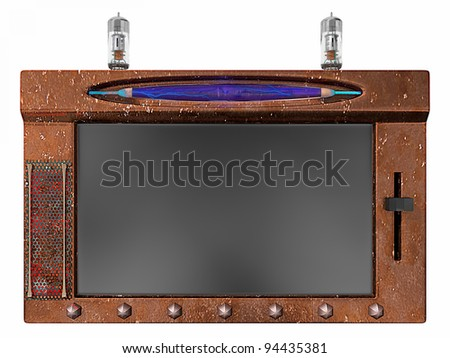 A Steampunk take on the modern internet tablet with a blank screen - stock photo