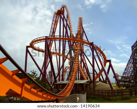 a steel roller coaster - stock photo
