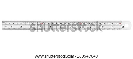 A steel ruler photographed on a white background