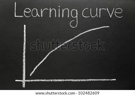 A steep learning curve drawn on a blackboard. - stock photo
