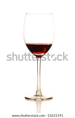 A stemmed wine glass with wine on a white background