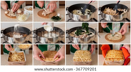 A Step by Step Collage of Making Chicken, Spinach and Mushroom Crepe Bake - stock photo