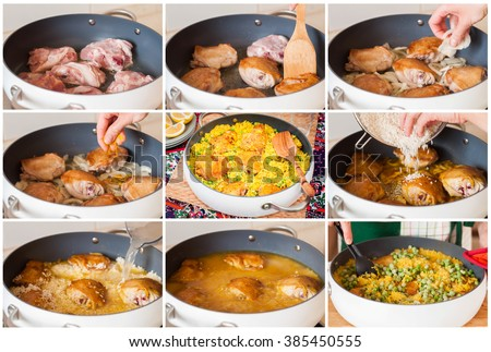 A Step by Step Collage of Making Chicken Thigh and Rice Biryani with Green Peas - stock photo