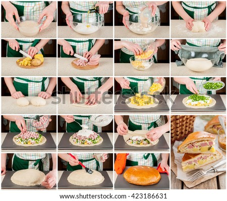 A Step by Step Collage of Making Potato, Ham, Sour Cream and Cheese Picnic Pie - stock photo