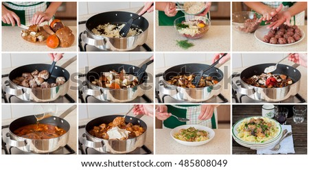 A Step by Step Collage of Making Tagliatelle Pasta with Beef Meatballs, Wild Mushrooms and Poppy Seeds