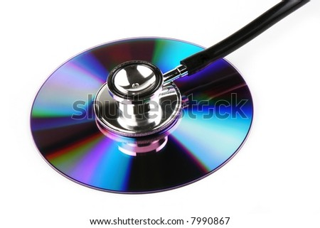 A stethoscope and a compact disk in white background.