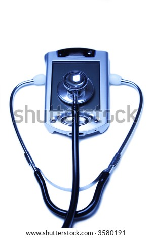 A stethoscope and a PDA in a blue tone