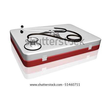 A stethoscope and medical kit isolated on a white background.