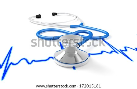 A stethoscope rests on a graph of an ECG, white background - stock photo