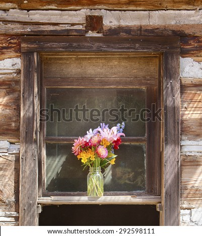 A still life of a flower vase is centered in a window on an old pioneer log cabin on Waldron Island in Washington. - stock photo