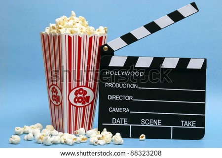 A still life of things related to movie making. - stock photo