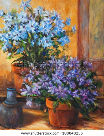 A still life oil painting of two potted flowers and a small jug. - stock photo