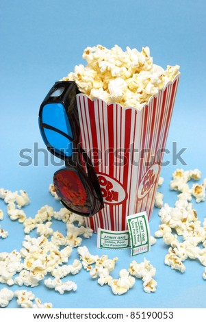 A still-life theme based on the experience of 3d movie entertainment. - stock photo