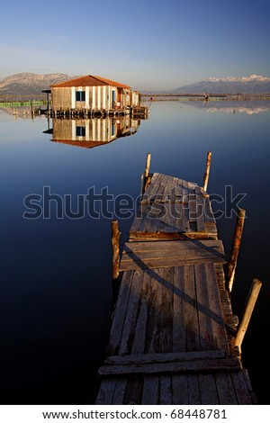 A stilt house in the lagoon of Messolonghi - stock photo