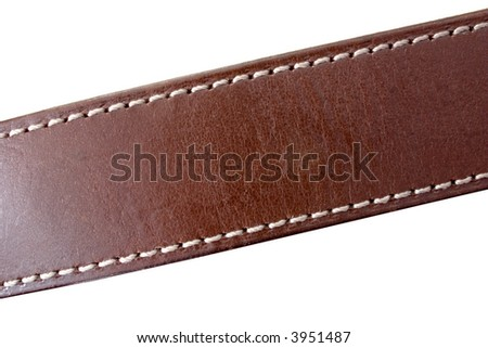a stitched leather belt on white - stock photo