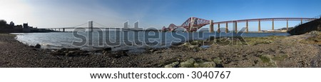 A stitched panorama of 19 photos of the Forth Road and Rail Bridges - stock photo