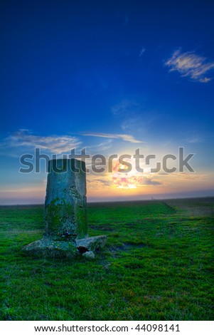A stone at the sunset time