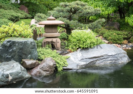 Japanese Garden Stone Bridge stone bridge crosses pond japanese garden stock photo 645590812