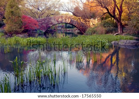 A stone bridge in Central Park, NY. - stock photo