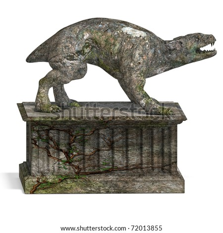 a stone creature - the gargoyle. 3D rendering with clipping path and shadow over white - stock photo