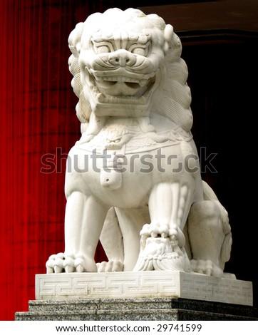 A stone lion sculpture taken in Singapore - stock photo