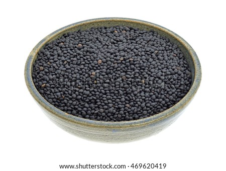 A stoneware bowl filled with black beluga lentils on a white background.