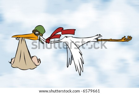 A stork carrying his special delivery to an unknow destination. - stock photo