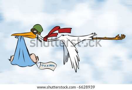 A stork delivering a special delivery to an unknown destination. But we do know it's a boy. - stock photo