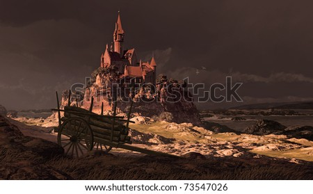 A storm tossed sea along a rocky French coastline with castle and 2- wheeled cart. - stock photo