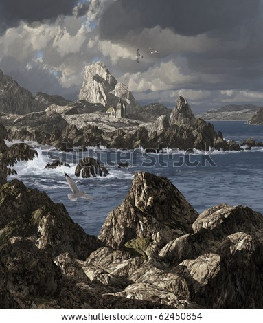 A storm tossed sea along a rocky Irish coastline with church and seagulls. - stock photo