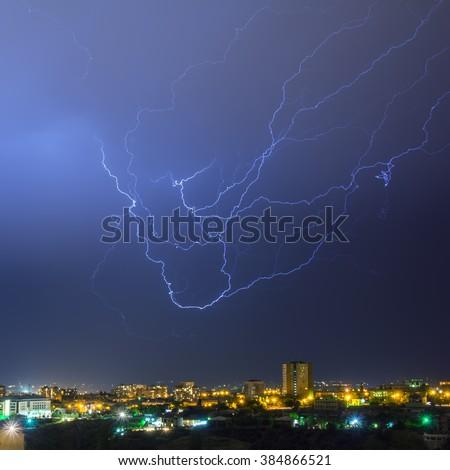 a storm with lightening in the night Yerevan, Armenia - stock photo