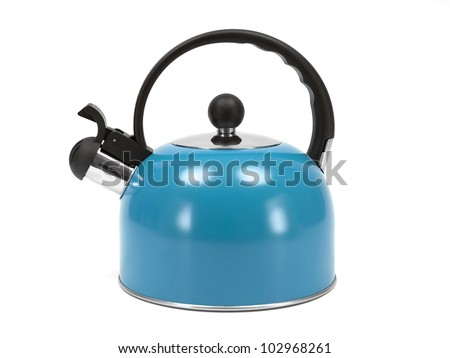 A stove top kettle on a kitchen bench - stock photo