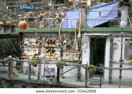 a strange home on the side of the mediterranean in Cinque Terre, Italy - stock photo