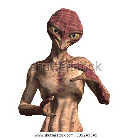 A strange insect-like alien with an intense stare - 3d render. - stock photo