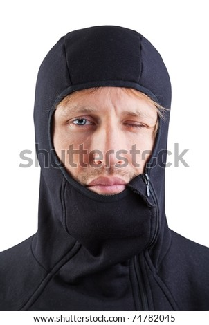 a strange man in a black hood isolated on white.